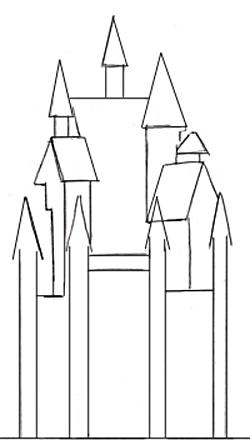 Приступаем к рисованию верхней части нашего дворца