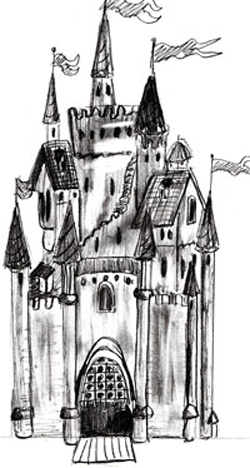 Закончим рисунок изображением крыши здания