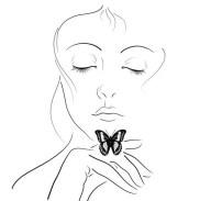 Черно-белая распечатка для ЛД-девушка с бабочкой