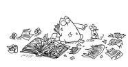 Черно-белая распечатка для ЛД-кот порвал дневник- Шалун!