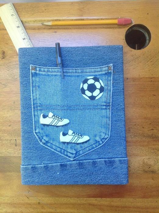 Обложка для ЛД из джинс с карманом