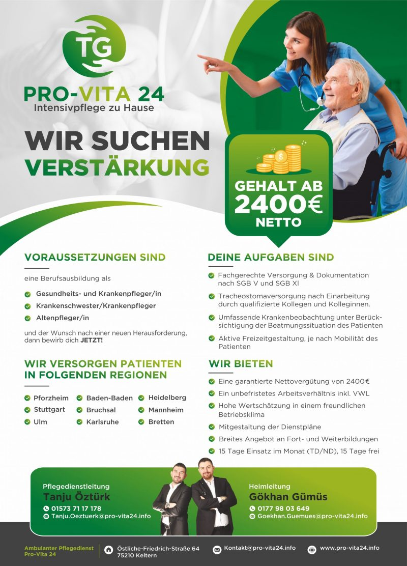 Read more about the article Offene Stelle zur Intensivpflege 15 Tage frei pro Monat