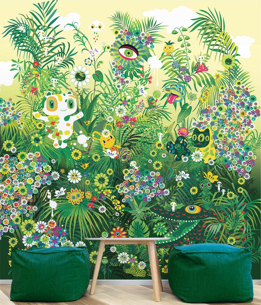 Papier-peint Hommage à Takashi Murakami - Artiste © Peggy Nille