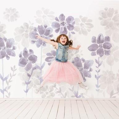 Papier peint Poésie de Fleurs violet ©Sandrine Fourrier