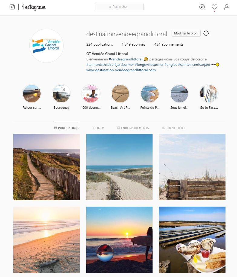 Compte Instagram de l'Office de Tourisme Destination Vendée Grand Littoral
