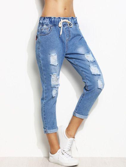 09908ed80e5 женские джинсы бойфренды рваные женские джинсы с отворотами ...