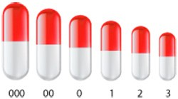 Размеры капсул для обучения глотания