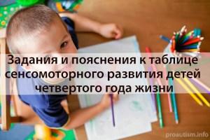 Задания и пояснения к таблице сенсомоторного развития детей 4 года жизни
