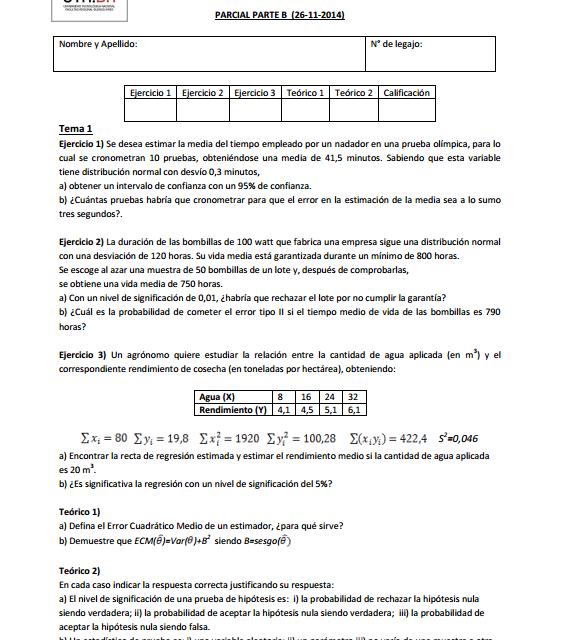 Segundo Parcial de Probabilidad y Estadística Resuelto [26-11-2014]