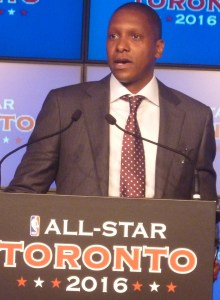 Masai Ujiri at podium