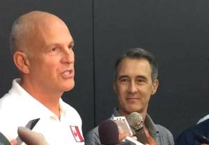 Jay Triano Scrum with Stephen Brotherston 2015