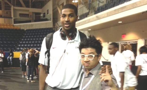 Tristan Thompson with superfan MoVernie