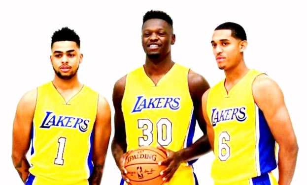 NBA Los Angeles Lakers D'Angelo Russell, Julius Randle & Jordan Clarkson