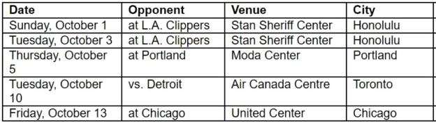 Raptors preseason schedule