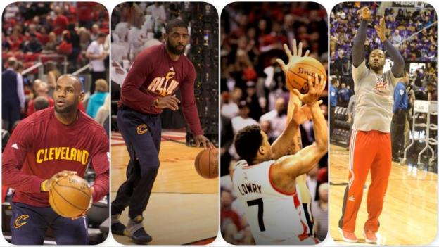 NBA Cleveland Cavaliers LeBron James and Boston Celtics Kyrie Irving and Toronto Raptors Kyle Lowry and Washington Wizards John Wall