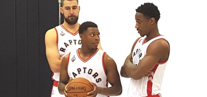 NBA Toronto Raptors Jonas Valanciunas and DeMar DeRozan and Kyle Lowry