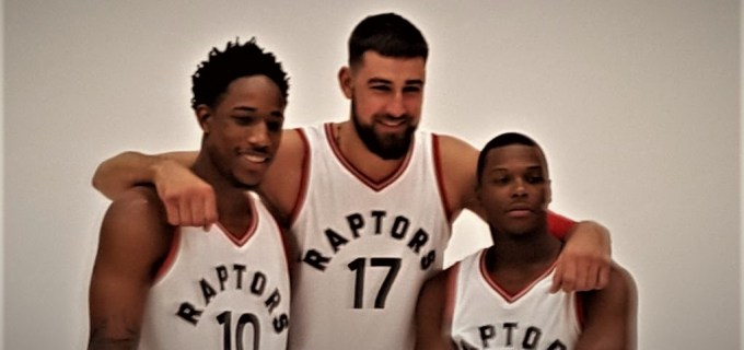 NBA Toronto Raptors DeMar DeRozan and Jonas Valanciunas and Kyle Lowry