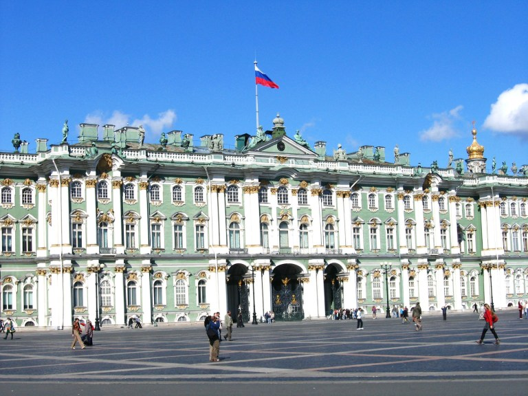 Famous Hermitage Museum in St. Petersburg, one of the largest collections of paintings in the world.