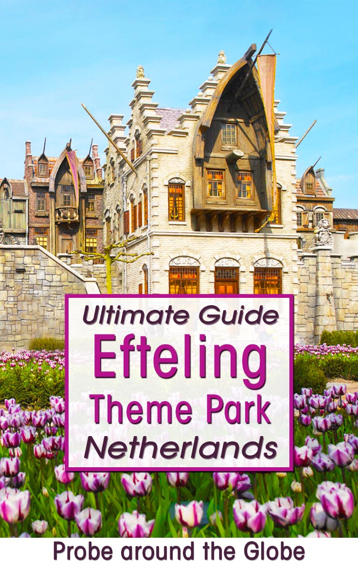 Field with flowers and magic harbor entrance hall to roller coaster in theme park Efteling with text overlay Ultimate Guide to Efteling Theme Park Netherlands