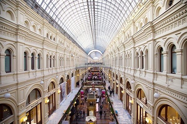 Inside the GUM deparment store, one of the things to see in Moscow when you travel by train from St. Petersburg to Moscow.