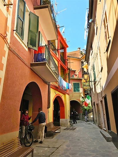 Street in Monterosso al Mare Cinque Terre Italy one of the best places to stay in Cinque Terre