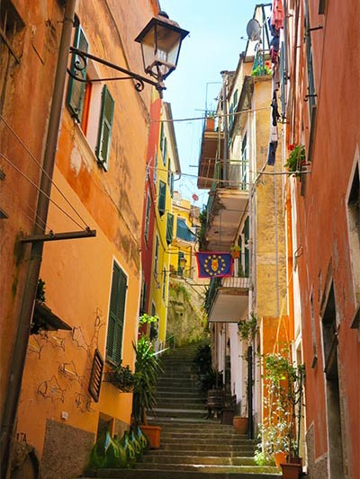 Street in Monterosso al Mare Cinque Terre Italy, a great place for staying in Cinque Terre