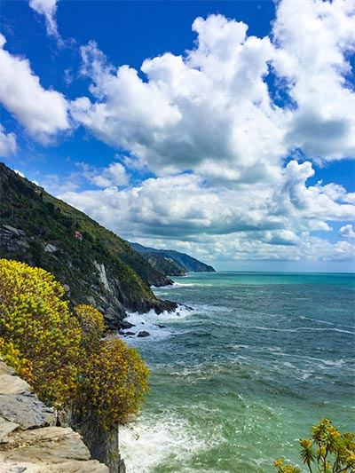 View of the Ligurian Coast in Italy with the best place to stay in Cinque Terre