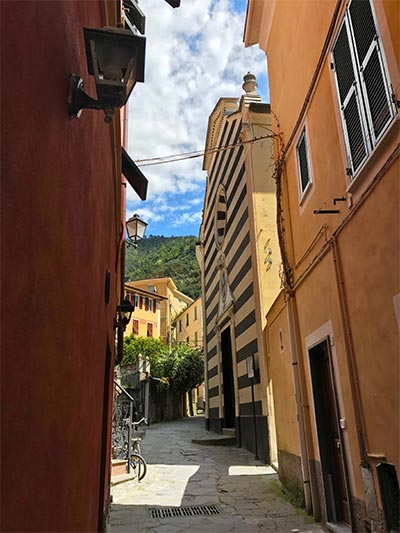 Street in Monterosso al Mare Cinque Terre Italy with the best hotels in Cinque Terre