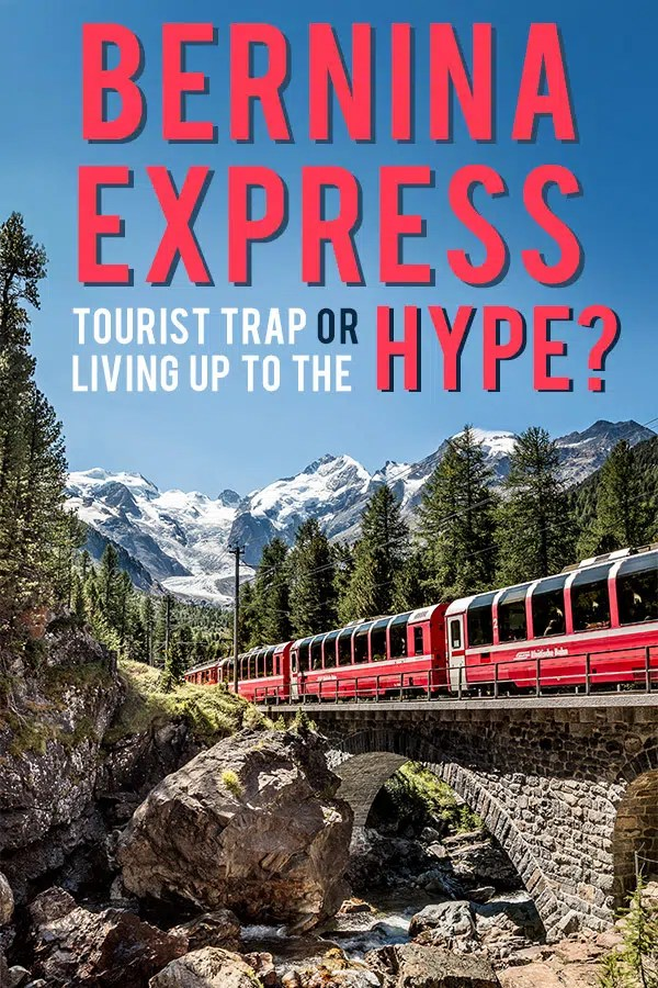 Red Bernina Express train running in front of the Bernina massif. Text overlay saying: Bernina Express, Tourist trap or living up the the Hype? Probe around the Globe. The Copyright of the image lies with Rhaetische Bahn swiss-image.ch/Andrea Badrutt and Rhaetian Railway/RhB
