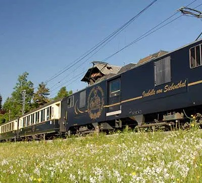 Panoramic Golden Pass Train Route through Switzerland