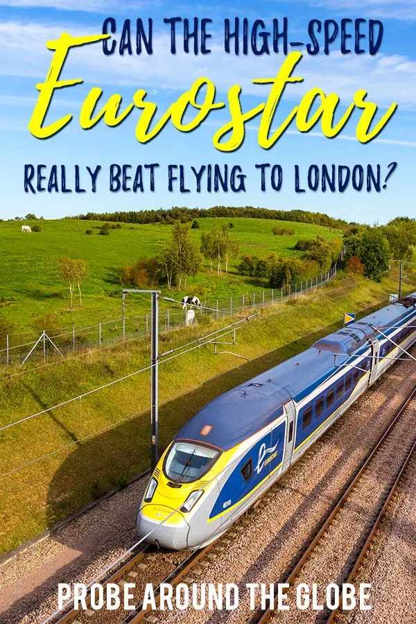 Yellow and blue high-speed Eurostar train riding the rails through a green countryside. Text overlay saying: Can the High-Speed Eurostar really beat flying to London? Probe around the Globe