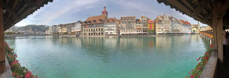 View from the bridge on Lucerne city in Switzerland.