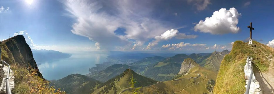 Spectacular panoramic picture of Lake Geneva from Rochers de Naye.