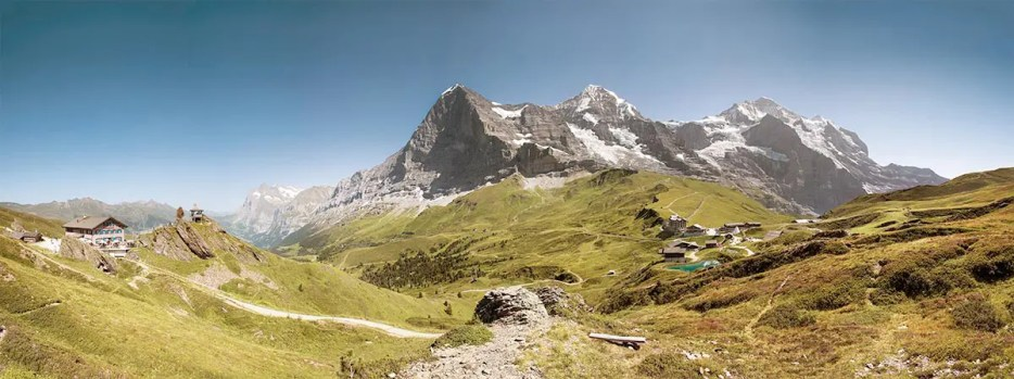 Panoramic image of Jungfrau, Eiger and Mönch, one of the best places in Switzerland to visit.