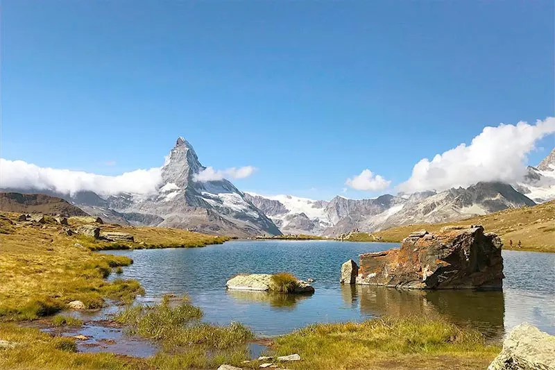 Impressive view of the Matterhorn mountains around Zermatt Switzerland.