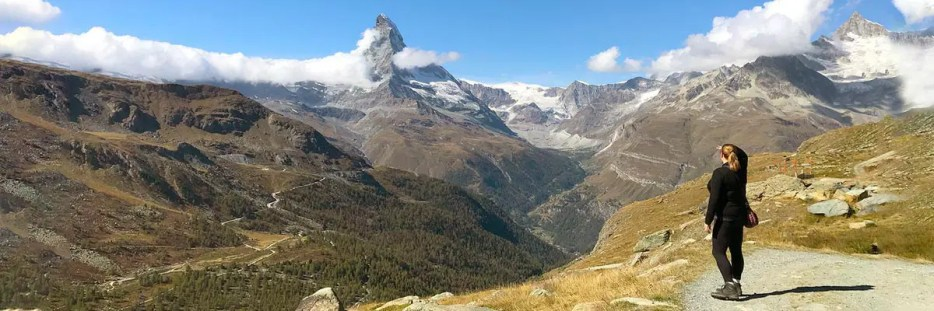 Panoramic view of the Matterhorn mountains around Zermatt Switzerland.