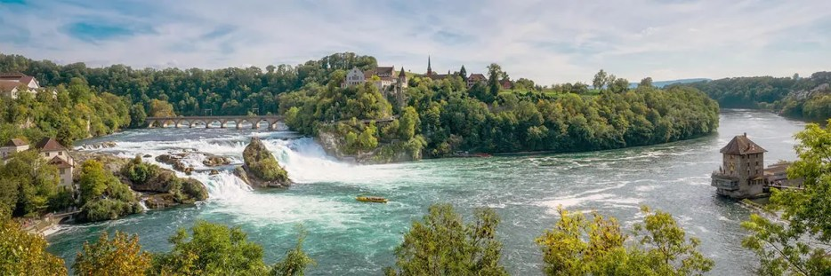 Panoramic image of the Rhine Falls at Neuhausen, one of the most beautiful places in Switzerland.