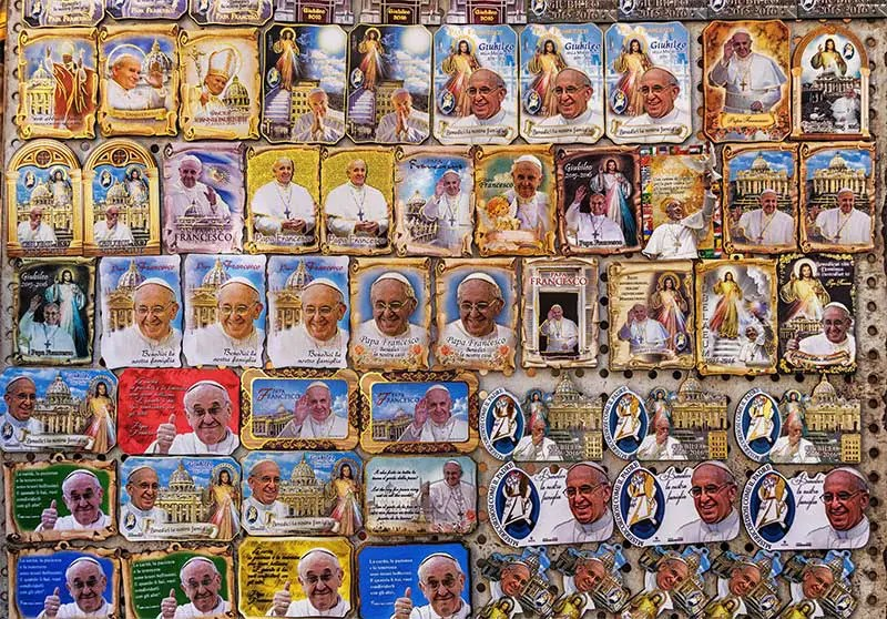 Magnets of Pope St. Francis in a shop in Vatican City, the best place to shop for religious souvenirs in Vatican City