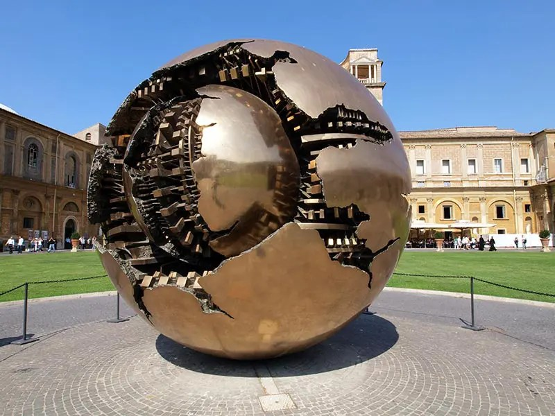Sphere in Sphere sculpture in the courtyard of the Vatican Museum