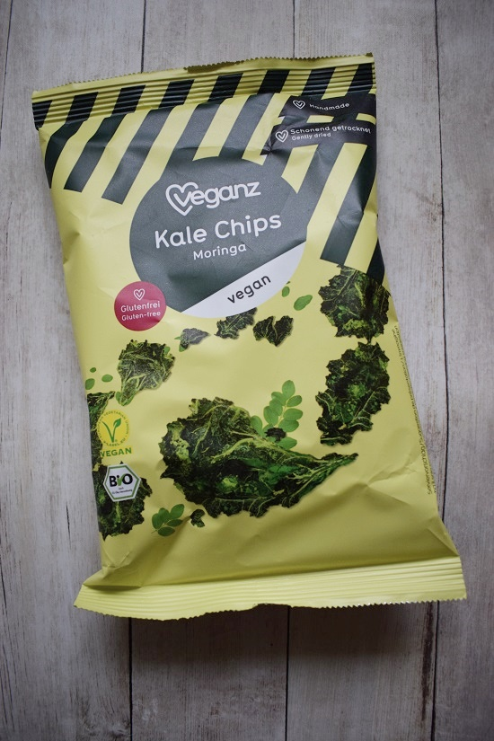 Genussbox April 2018 Veganz Kale Chips Moringa Probenqueen