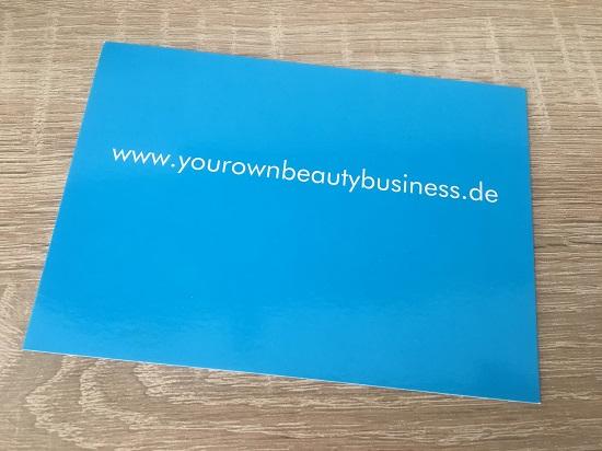 ByeByeCellulite Creme von Juchheim yourownbeautybusiness Postkarte www.probenqueen.de