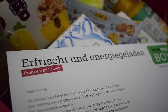 """Brandnooz Genussbox Januar Flyer """"Erfrischt und energiegeladen"""""""