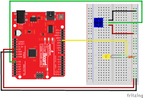 small resolution of arduino with potentiometer and led on a breadboard