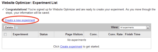 Google Website Optimizer dashboard