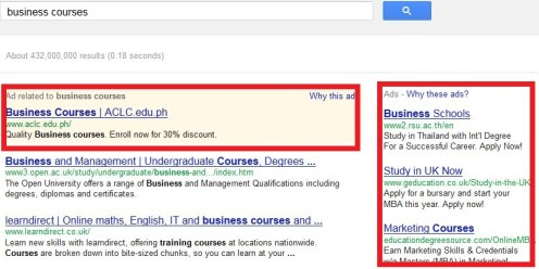 Google ads for business courses