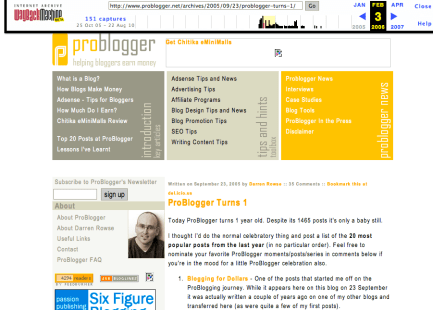 Problogger header highlights key posts, categories and news/resources