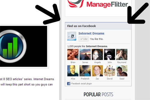 Internetdreams facebook like box