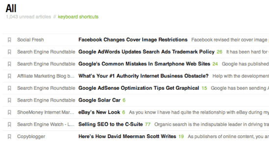 Tim Soulo's google reader screen of headlines