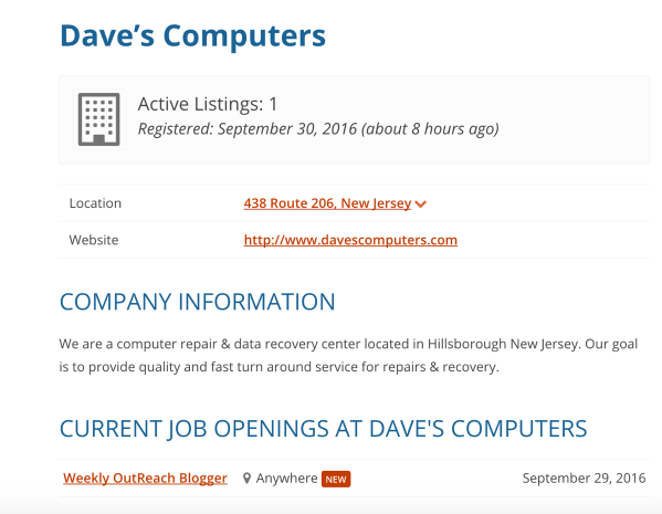 Problogger job board profile page