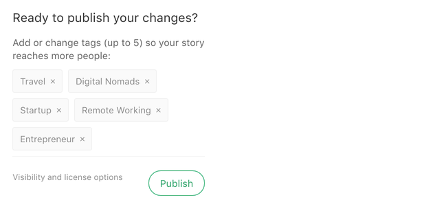 Medium | Adding tags to my story, so I can get more exposure on Medium's search page.